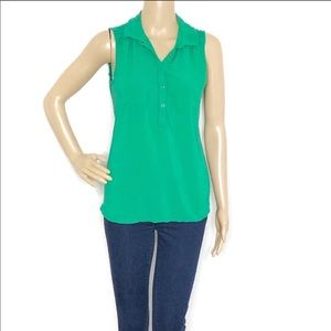 Two by Vince Camuto Green Sleeveless Rayon Top